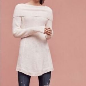 Anthropologie White Cowl Neck Tunic Sweater - XS